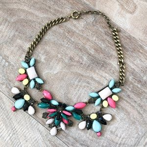 Multi colored and tarnished gold chain necklace